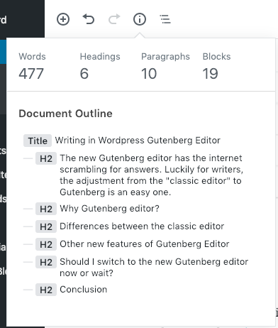 writing in wordpress gutenberg editor outline viewer